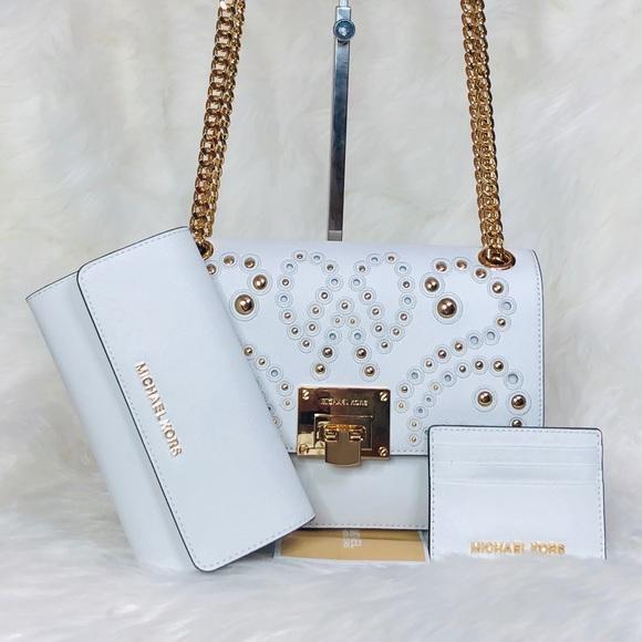cc198598ad77 Michael Kors Bags | 3pcs Tina Studded Shoulder Bag Wallet | Poshmark